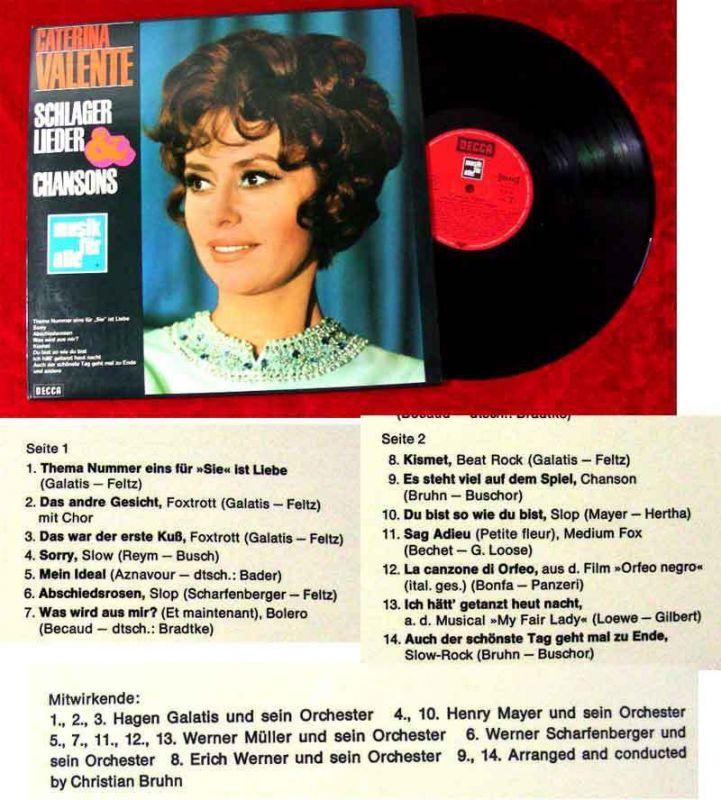 LP Caterina Valente: Schlager Lieder & Chansons (Decca Musik für Alle ND 182) D