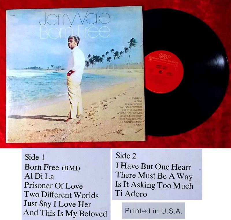 LP Jerry Vale: Born Free (Columbia Special Products P 13305) US