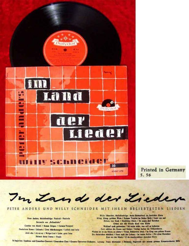 25cm LP Peter Anders & Willy Schneider: Im Land der Lieder (Polydor 45 047) D 56