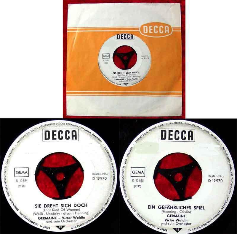 Single Germaine: Sie dreht sich doch / Ein gefährliches Spiel Decca 19970 Promo