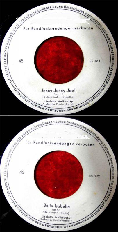 Single Liselotte Malkowsky: Jenny Jenny Joe! (Polydor 55 301) Musterplatte