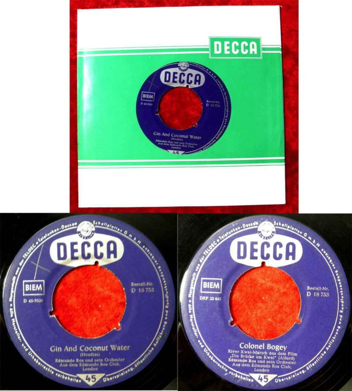 Single Edmundo Ros: Gin and Coconut Water (Decca D 18 753) D