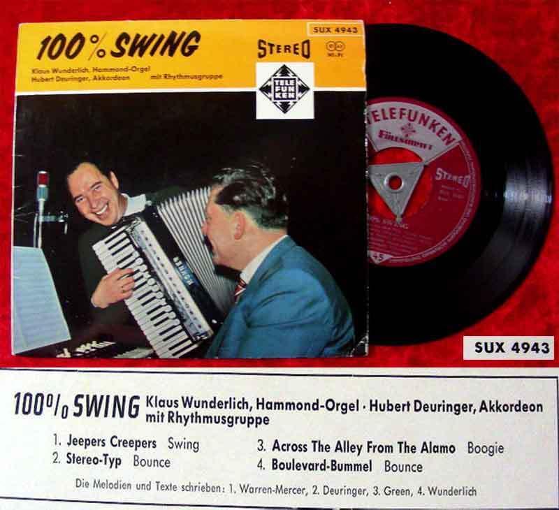 EP Klaus Wunderlich & Hubert Deuringer: 100% Swing (Decca SUX 4943) Stereo