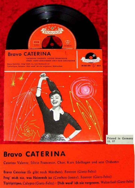 EP Caterina Valente: Bravo Caterina (Polydor 20 282) D 1957