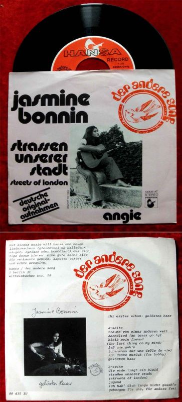 Single Jasmine Bonnin: Strassen unserer Stadt / Angie (Hansa 13 836 AT) D 1974
