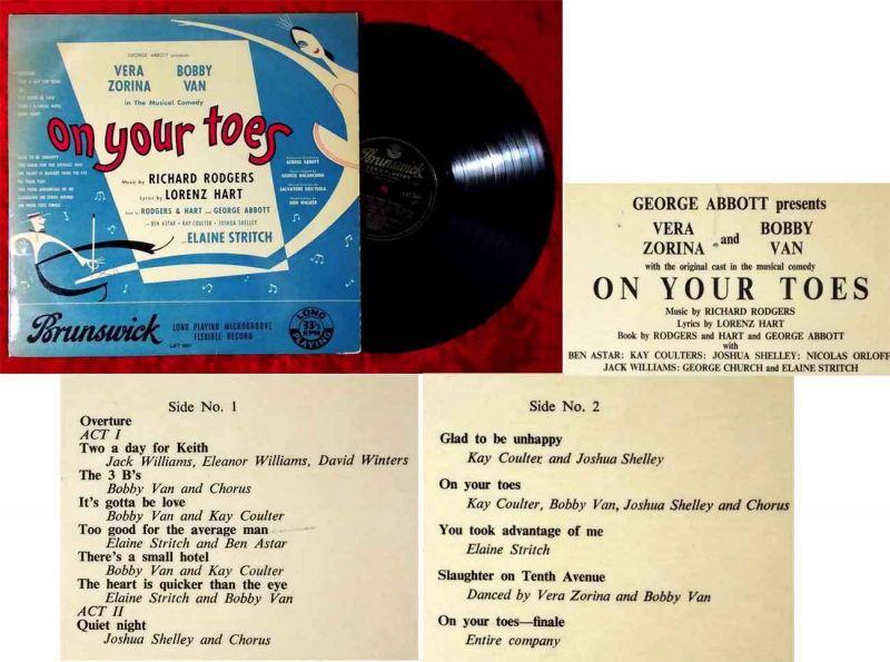 LP On Your Toes w/ Vera Zorina & Bobby Van (Brunswick LAT 8061) UK 1955