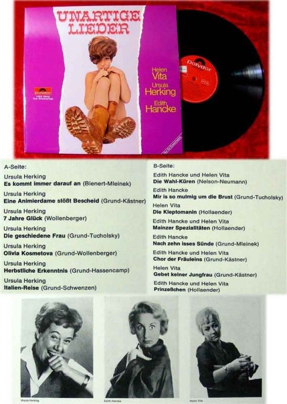 LP Unartige Lieder Edith Hancke Helen Vita Ursula Herki