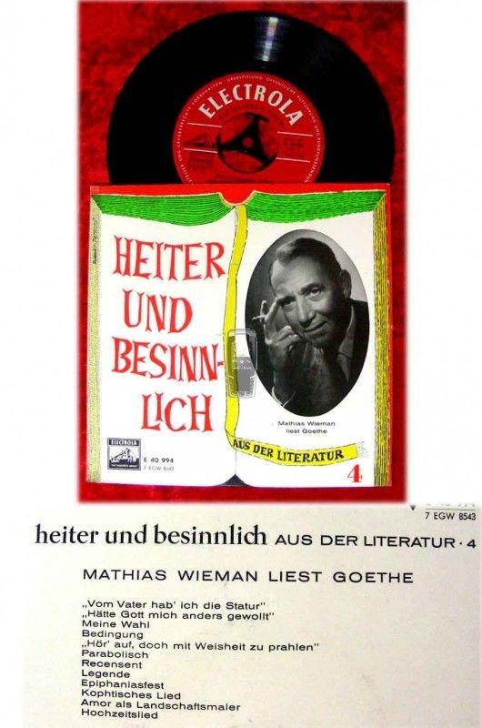 EP Mathias Wieman liest Goethe - Heiter und besinnlich