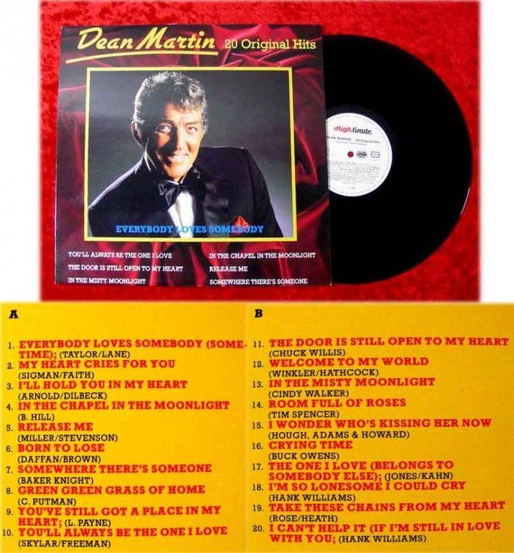 LP Dean Martin 20 Original Hits Everybody Loves Somebod