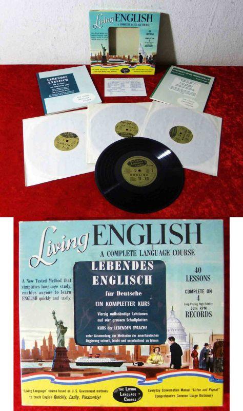 4LP Box Living English - 40 Lessons  - kompletter Englisch-Kurs auf Vinyl - 1957