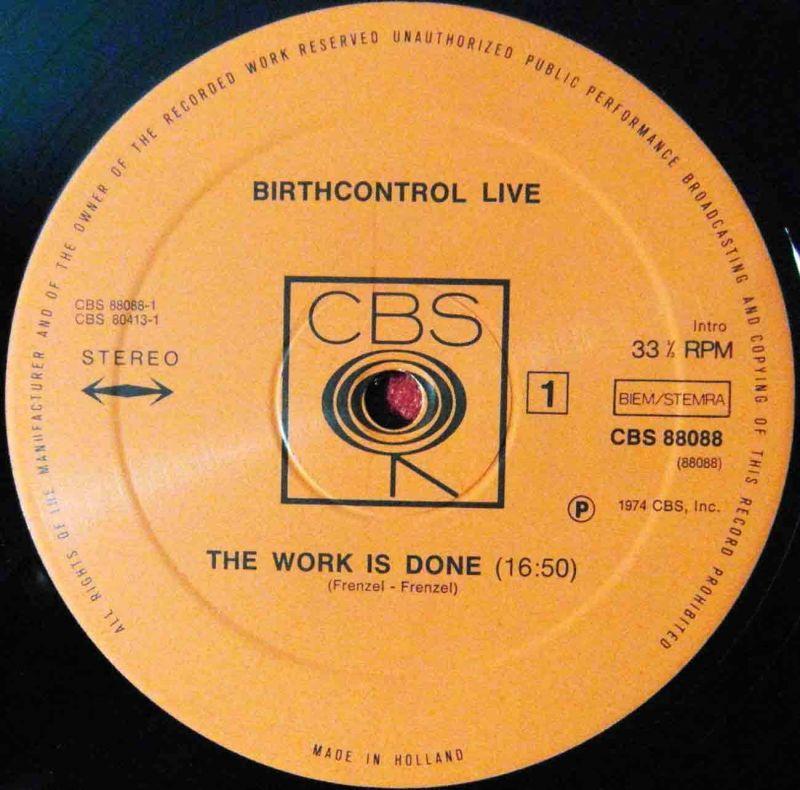 2LP Birth Control: Live (CBS 88 088) NL 1974 1