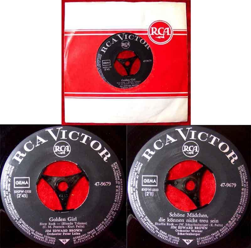 Single Jim Edward Brown: Golden Girl / Schöne Mädchen.... (RCA 47-9679) D