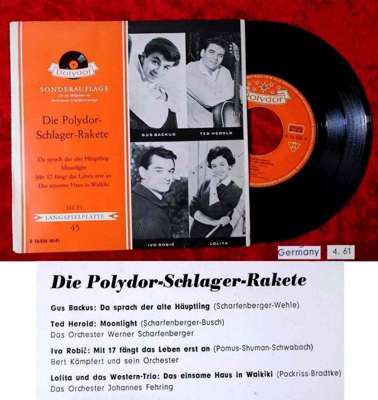 EP Die Polydor Schlager Rakete 1961 Ted Herold Gus Backus Ivo Robic Lolita