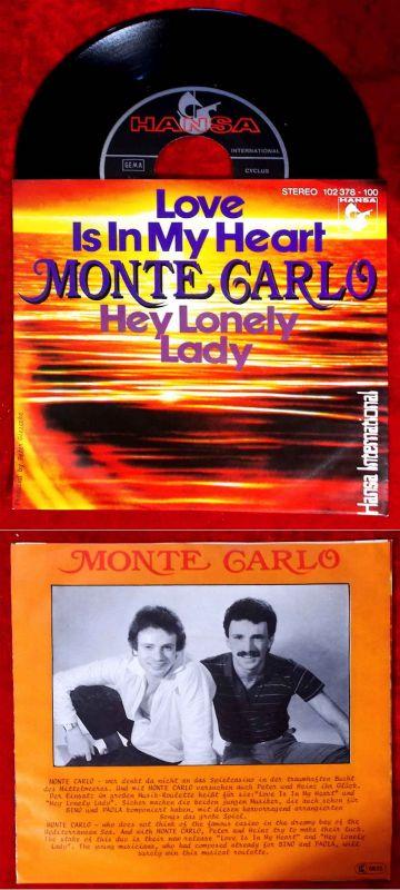 Single Monte Carlo: Love Is In My Heart (Hansa 102 378-100) D 1980