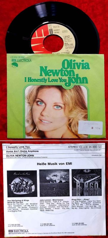 Single Olivia Newton-John: I Honestly Love You (EMI 1C 006-95 956) D 1974