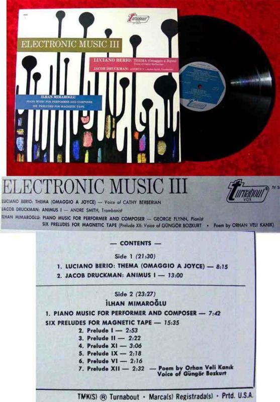 LP Eletronic Music III Luciano Berio Jacob Druckman
