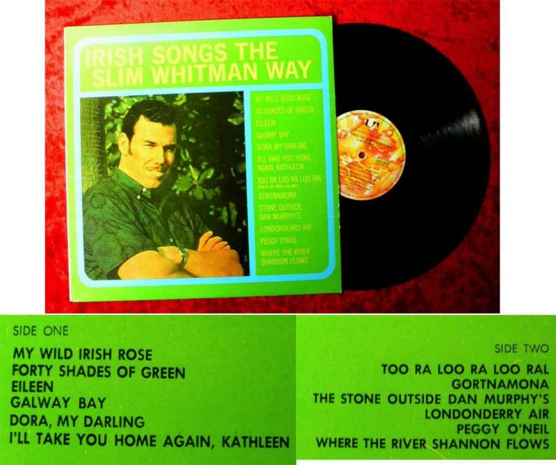 LP Slim Whitman: Irish Songs The Slim Whitman Way (United Artists UAC 5026) AU
