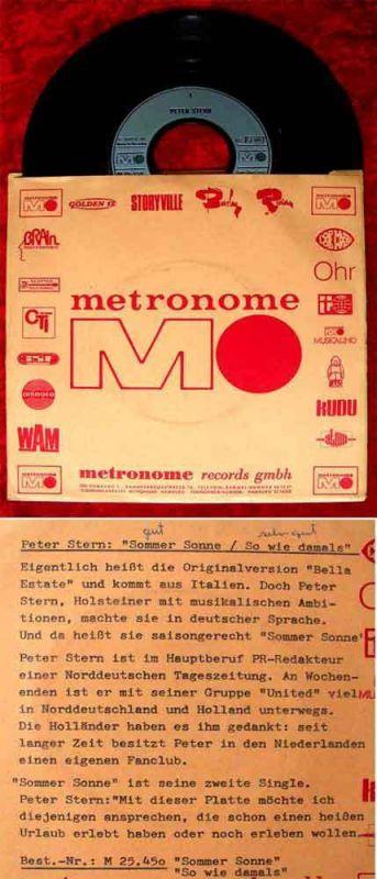Single Peter Stern: Sommer Sonne (Metronome M 25 450) D 1971 Infosingle 0