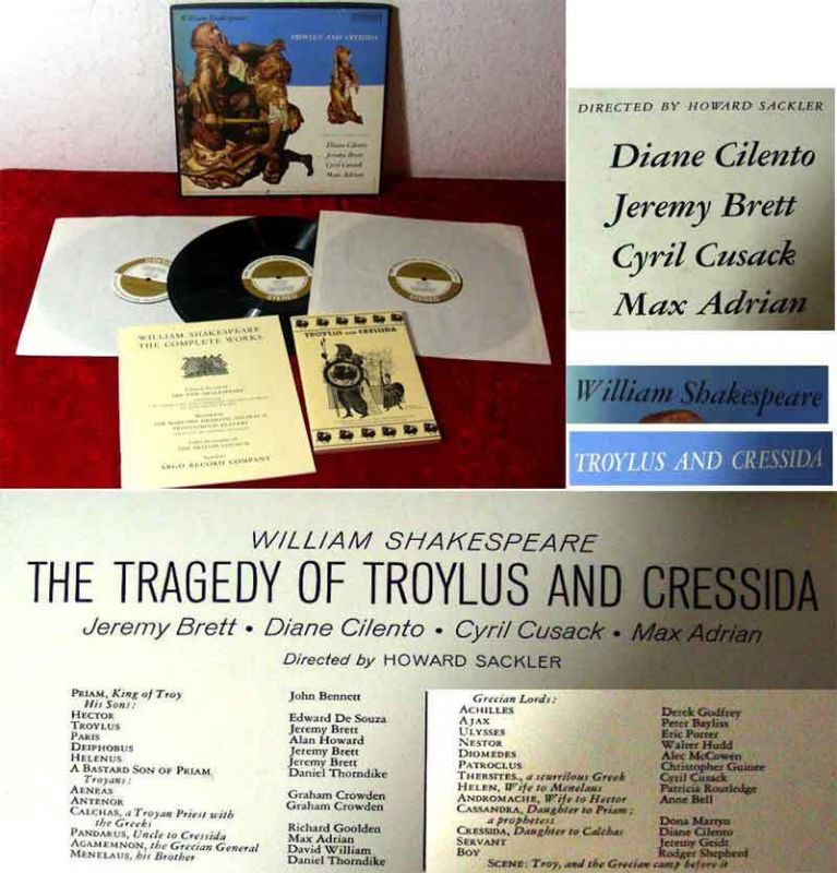 3LP Box Troylus and Cressida-  Shakespeare - Diane Cilento Jeremy Brett