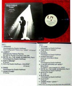 LP Lenny Soundtrack Dustin Hoffman Miles Davis Ralph Bu