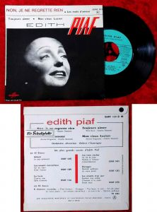 EP Edith Piaf: Non, Je Ne Regrette Rien + 3 (Columbia ESRF 1312 M) F