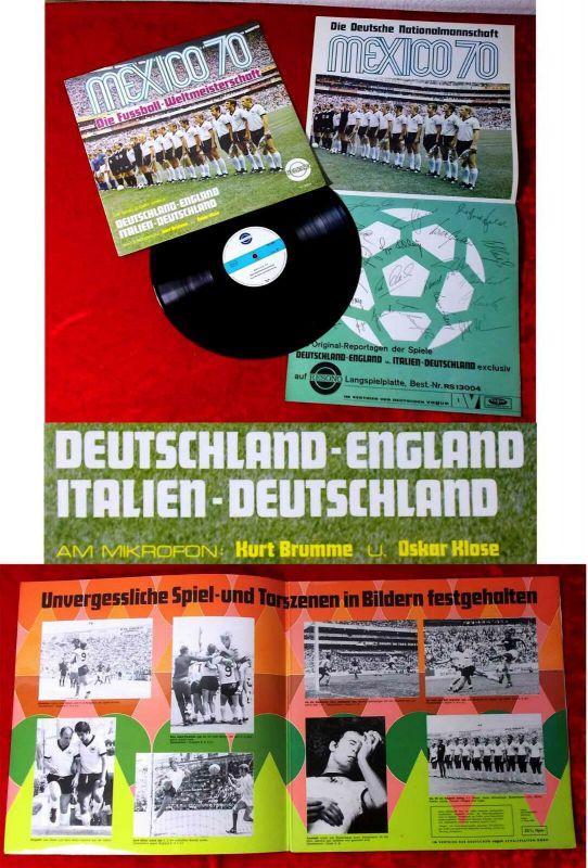 LP Mexico 70 Fußball Weltmeisterschaft mit Kurt Brumme & Oskar Klose mit Poster