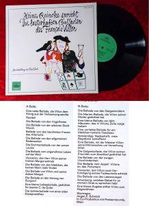 LP Heinz Reincke spricht Die lasterhaften Balladen von Francois Villon (DGG)