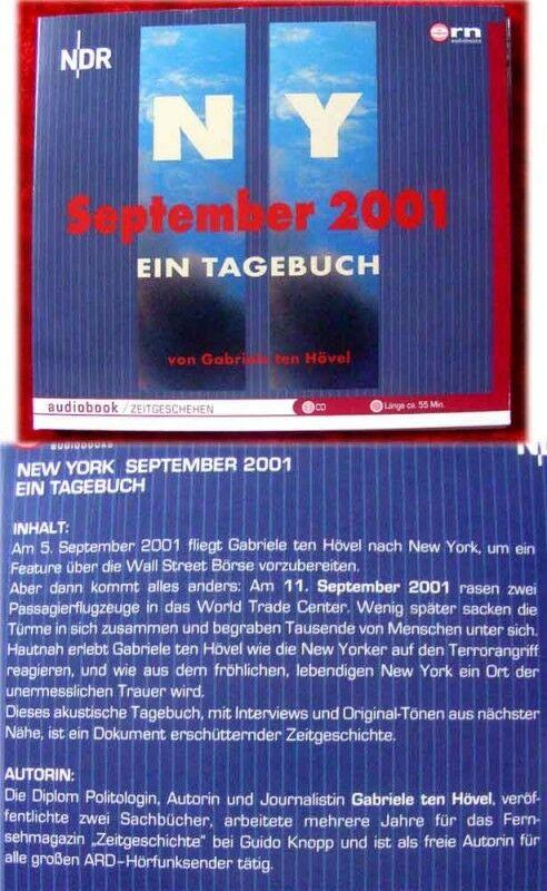 CD N Y September 2001 Ein Tagebuch von Gabriele ten Höv