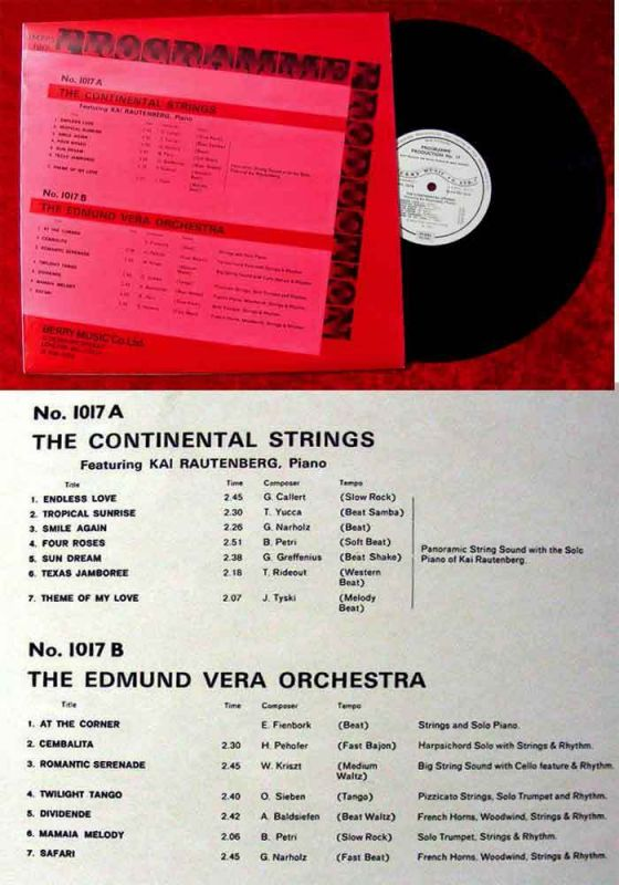LP Continental Strings Kai rautenberg & Edmund Vera: Programme Production (UK)