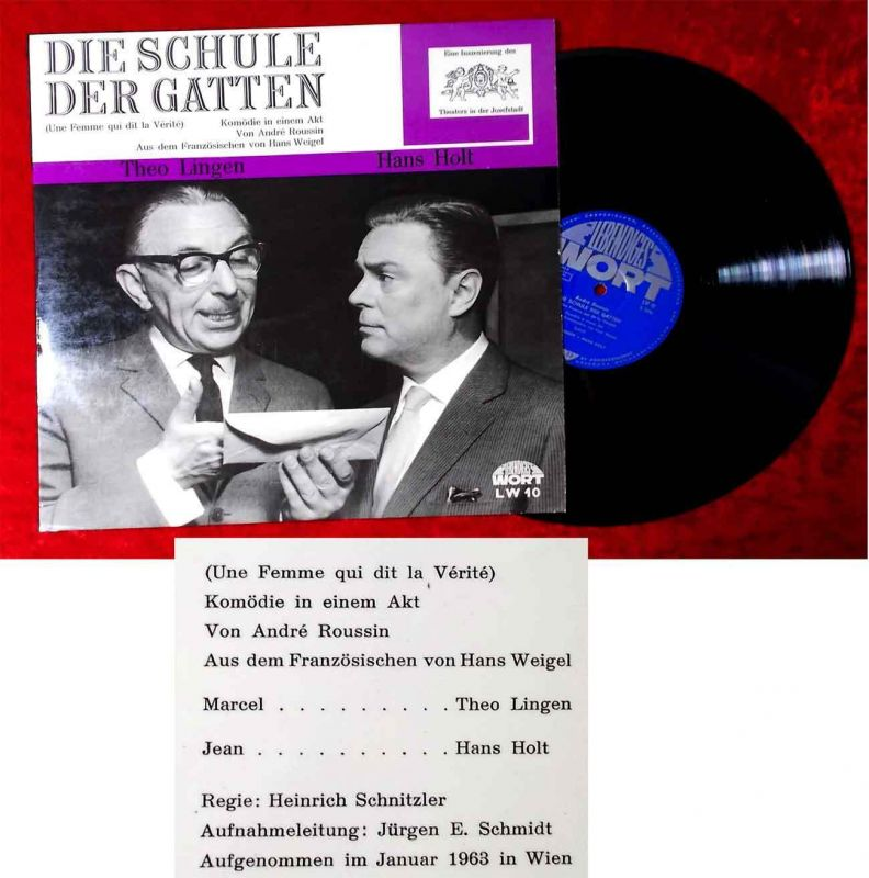 LP Theo Lingen & Hans Holt: Die Schule der Frauen (LW 10) A 1963