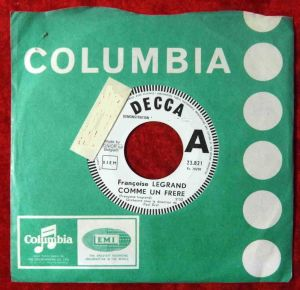 Single Francoise Legrand: Comme Un Frere (Decca 23.821) Demo Belgium