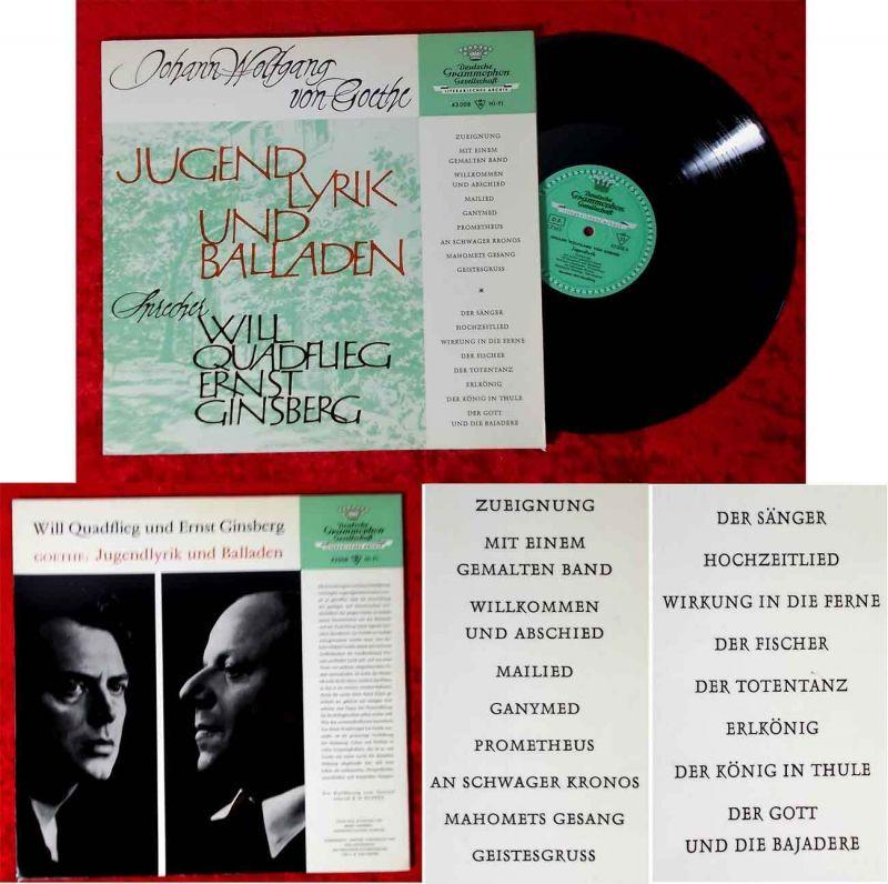 LP Will Quadflieg & Ernst Ginsberg: Goethe -  Jugendlyrik & Balladen (DGG 43008)