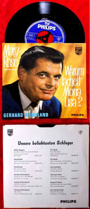 Single Gerhard Wendland: Mary Rose (Ramblin Rose) (Philips 345 529 PF) D 1962