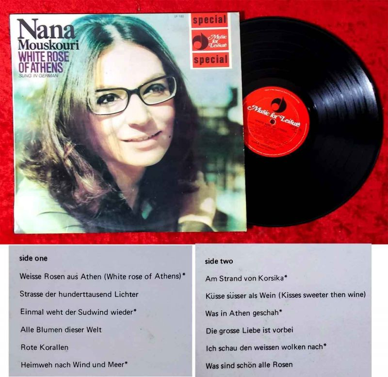 LP Nana Mouskouri: White Rose of Athens (Music for Leisure Special SP 180) NZ