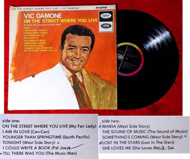 LP Vic Damone: On the Street where you live (Capitol Mono T 2133) UK 1964