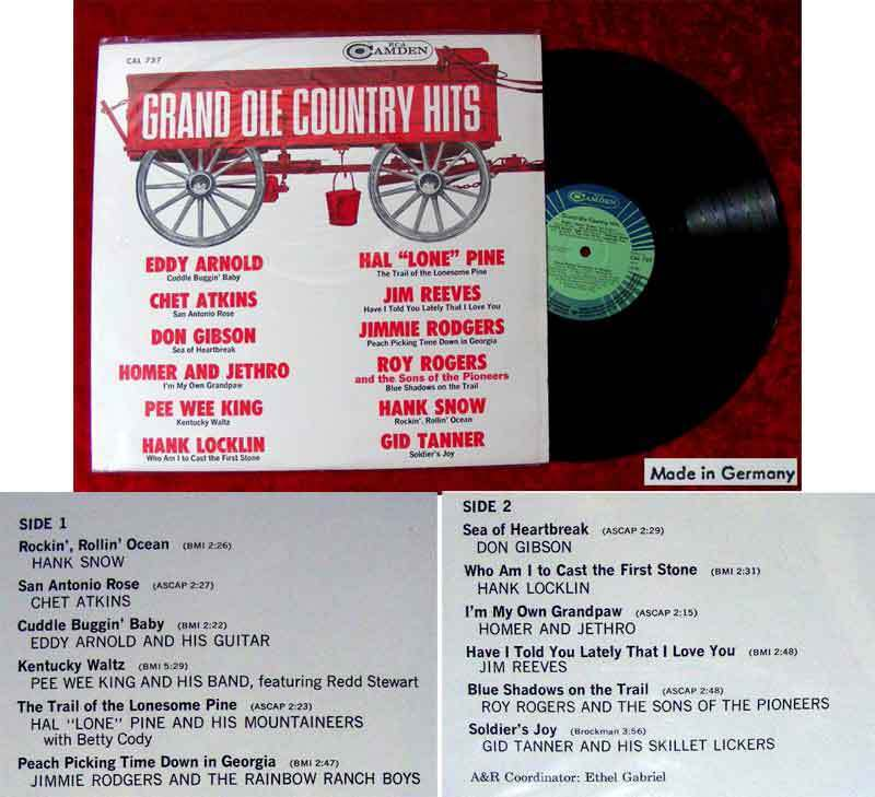 LP Grand Ole Country Hits (RCA Camden CAL 737) D Roy Rogers Eddy Arnold
