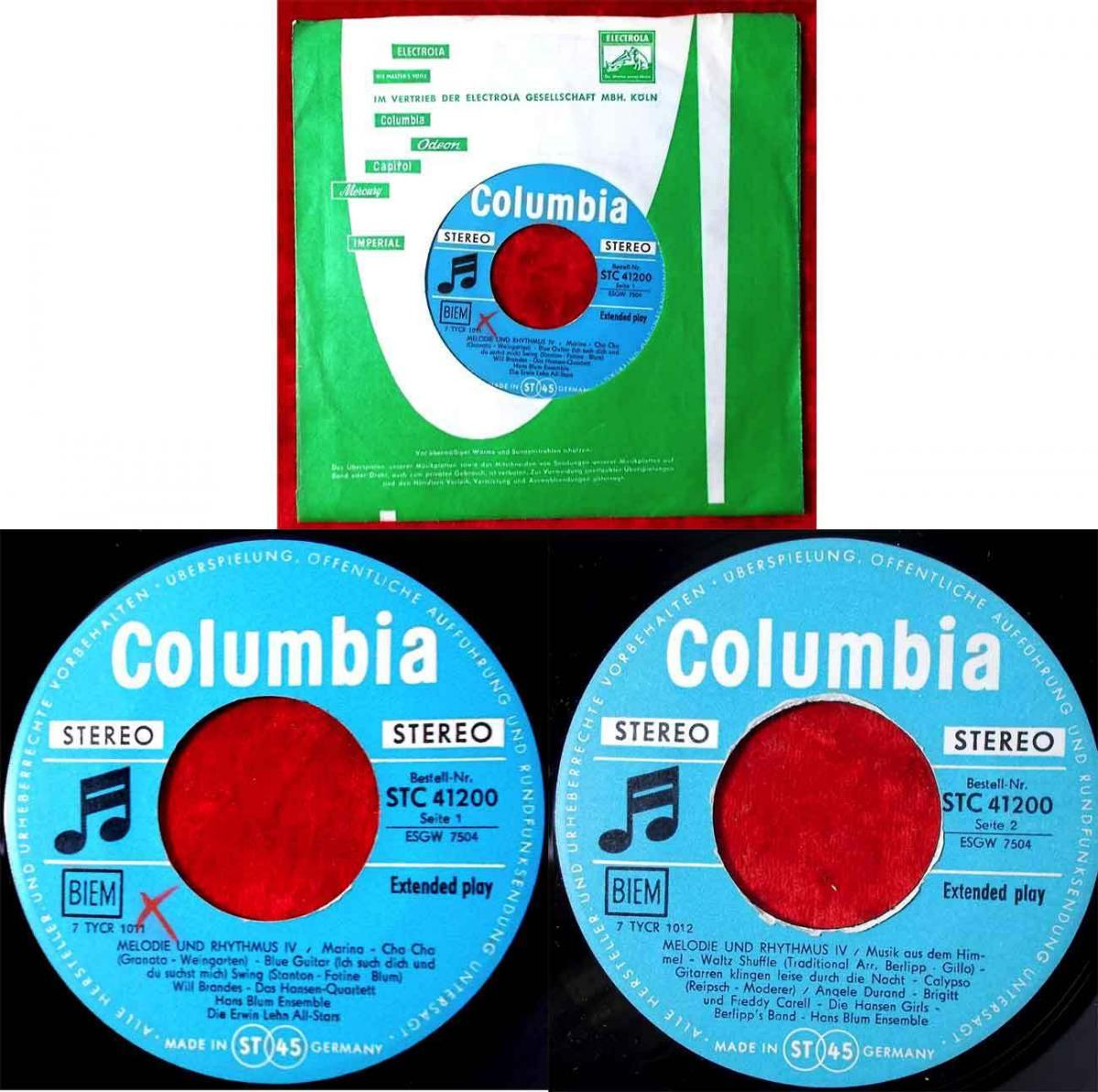 EP Will Brandes Angele Durand: Melodie & Rhythmus IV (Columbia STC 41200) D 1960 0