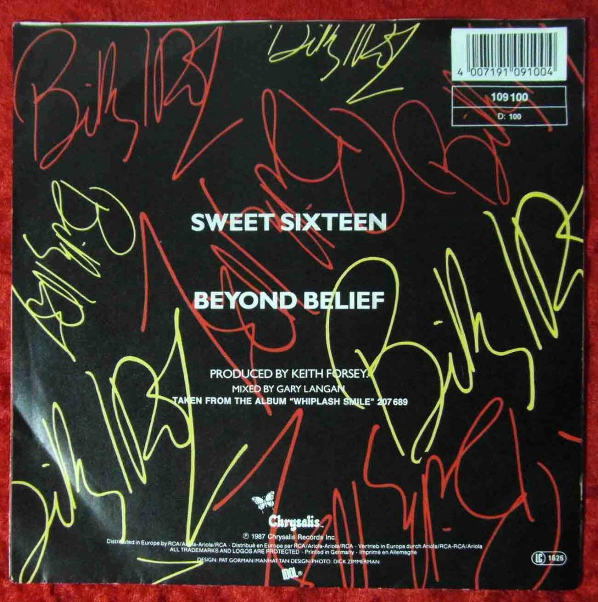 Single Billy Idol: Sweet Sixteen (Chrysalis 109 100) D 1987 1