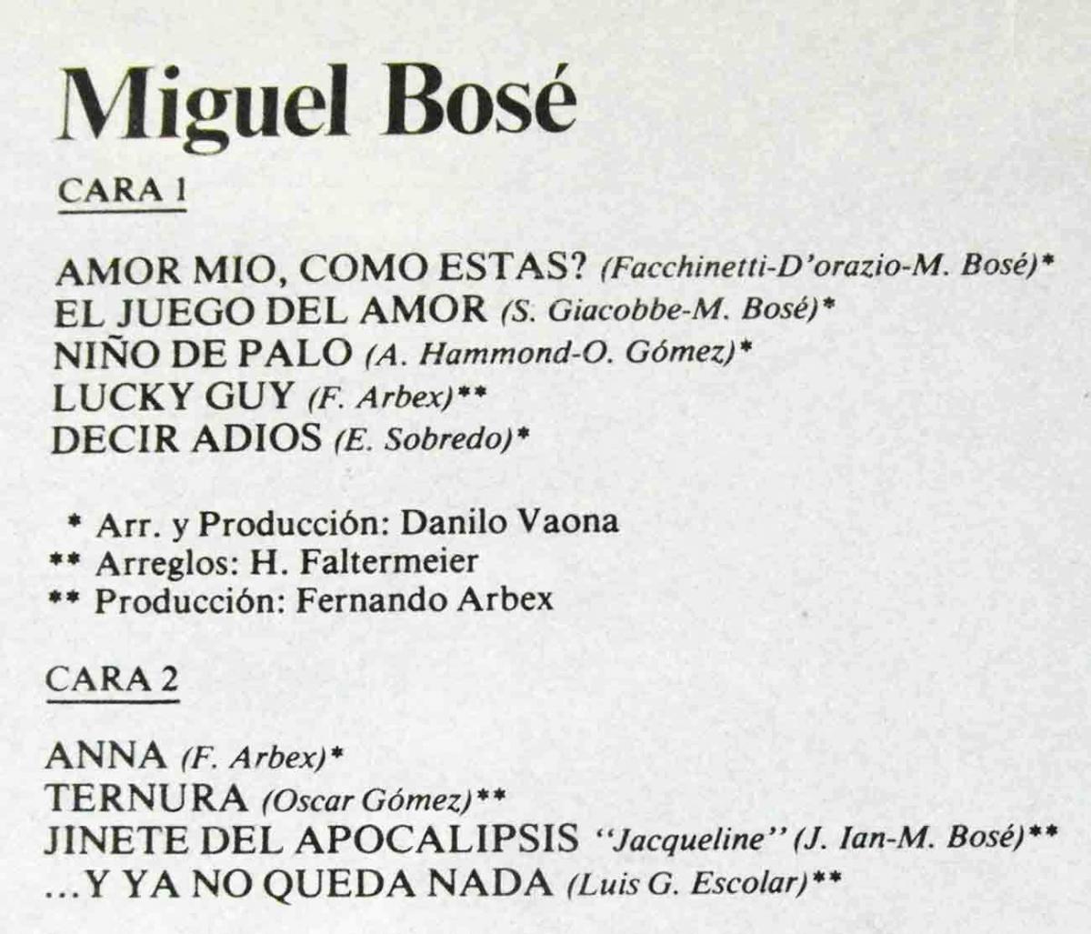 LP Miguel Bosé (CBS S 86063) Spanien 1978 1