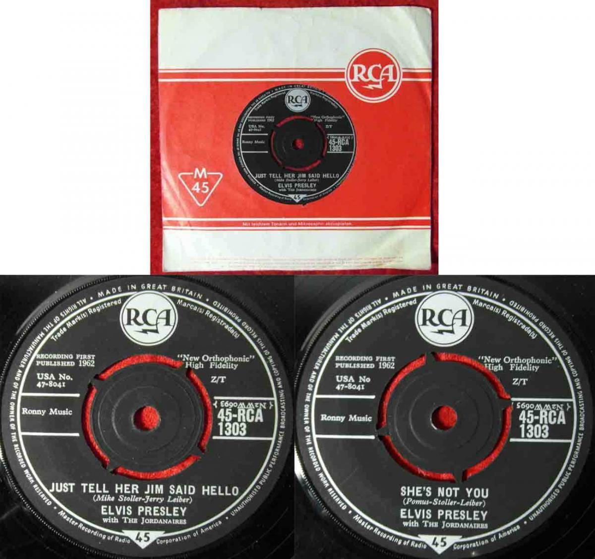 Single Elvis Presley:Just Tell Her Jim Said Hello (RCA 45-RCA-1303) UK 1962