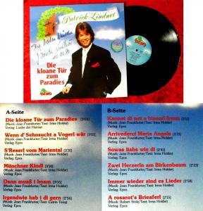 LP Patrick Lindner: Die kloane Tür zum Paradies (Dino LP 2111) Signiert 1990
