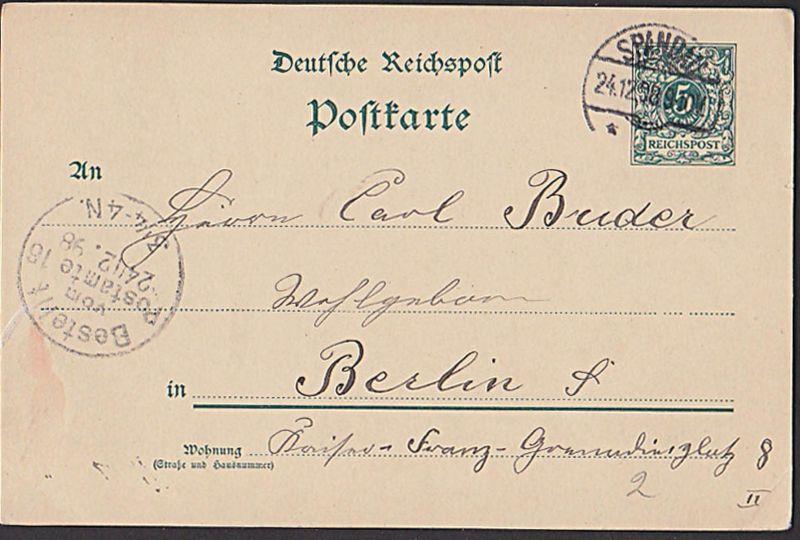 SPANDAU Deutsches Reich 5 Pf Ganzsachenkarte von 1898 nach Berlin
