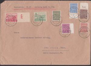 SBZ Provinz Sachsen Bodenreform Nachnahme-Brief aus Halle (Saale), dabei Wappen 20, 30 u. 40 Pfg.