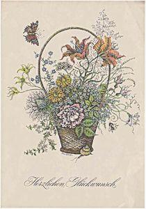 DDR Telegramm Schmuckblatt Télégramme de bijoux Lx 45 Fleurs de voeux de papillon Flowers butterfly greeting
