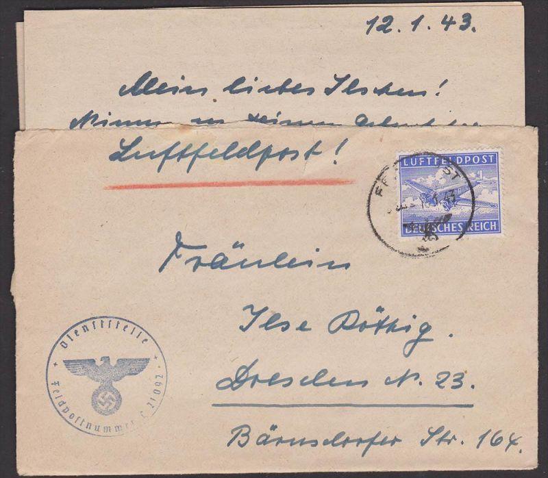 Luftfeldpost Tante JU 52, 1943, Abs. Fp-Nr. L21092 nach Dresden mit Inhalt