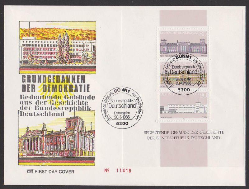 BRD Grundgedanken der Demokratie Block 20 FDC SSt. Bonn, Reichstag, Bundeshaus