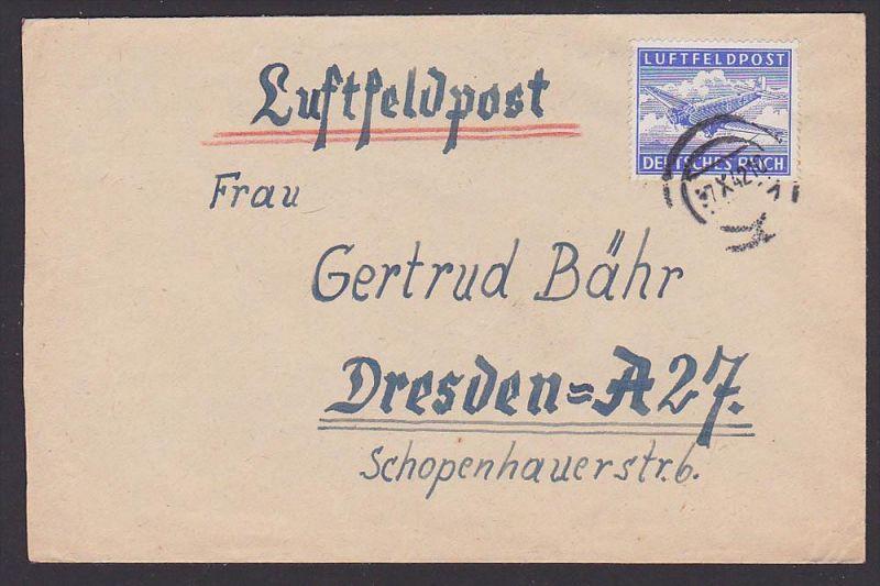 Luftfeldpost Germany Deutsches Reich Tante JU 52, Stummer Stempel 1942, Abs. Fp-Nr. L08470 BRESLAU
