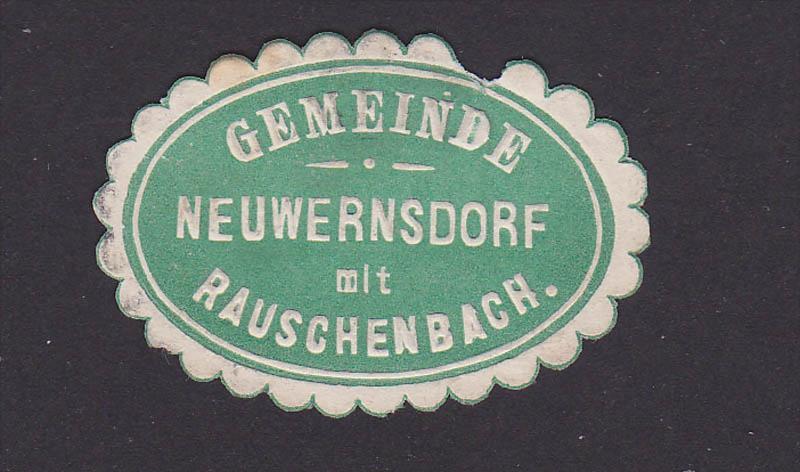 Neuwernsdorf mit Rauschenbach, Briefverschlusssmarke Siegelmarke Gemeinde