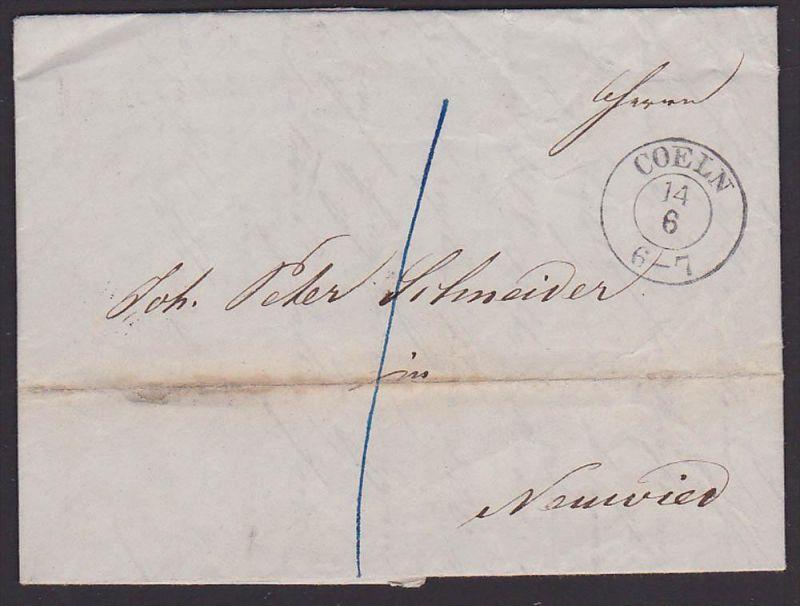 COELN Köln, Altbrief 1851 Faltbrief nach NEUWIED mit vollständigem Inhalt