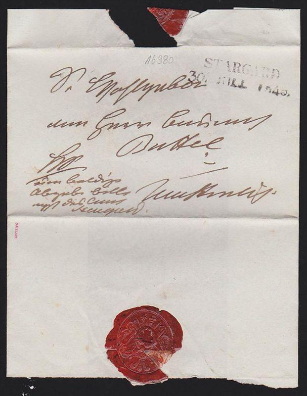 STARGARD Pommern Falt-Brief von 1848, rot sign.Carl Lance